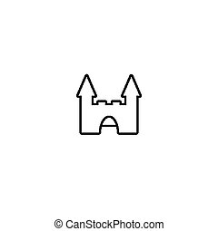 Simple lined castle icon. Ancient fortress sign illustration.