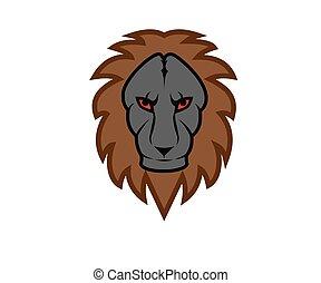 simple, lion, redevance, icône
