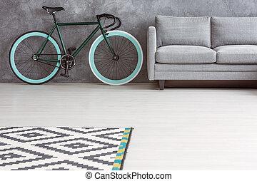 Simple living room, copy space