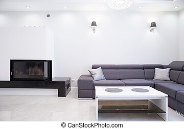 Simple living room - Photo of white and grey simple living...
