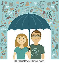 Simple living - Young couple takes cove under umbrella from...
