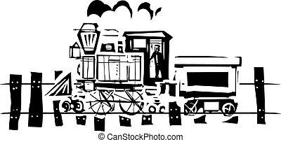 simple, locomotive, woodcut