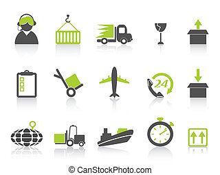 simple logistics and shipping icons green series - isolated...