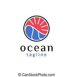 Simple logo design of sea water and sun waves in a circle