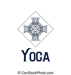 Simple logo with abstract curly symbol for yoga studio or yoga instructor. Company logo design. Vector