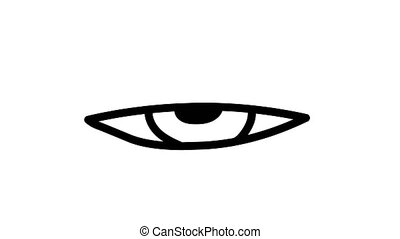 Simple looped animation of human eye drawn with lines on white background.