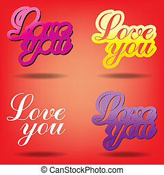 Simple love you text badge