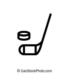 simple, lutin, arrière-plan., vecteur, hockey, icon., blanc, rempli, crosse