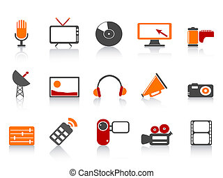 simple, média, ensemble, outils, icône