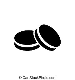 Simple macarons icon - Black vector simple macarons icon...