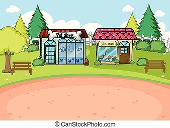 simple, magasin, scène, rural