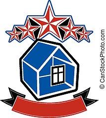 simple, maison, cinq, étoiles, cl