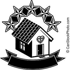simple, maison, cinq, étoiles