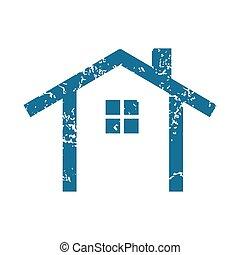 simple, maison, grunge, icône