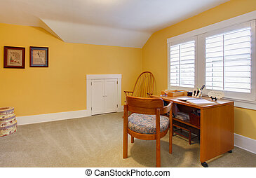 simple, maison, jaune, bureau, heureux