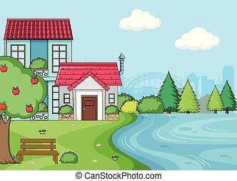 simple, maison, landcape