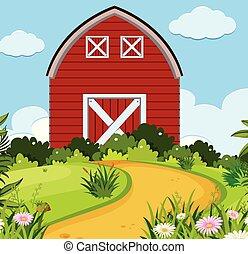 simple, maison, rural