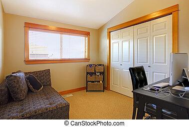 simple, maison, salle, bureau, interior.