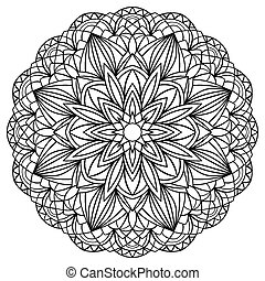 simple mandala with black outlines on white background