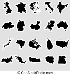 simple maps of different country stickers collection eps10