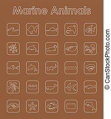 simple, marina, conjunto, animales, iconos