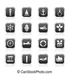 Simple Marine, Sailing and Sea Icons - Vector Icon Set