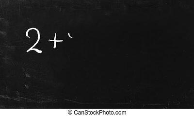Simple math operation. - Simple math operation writing chalk...