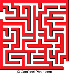 Simple maze - Vector illustration of Simple red maze