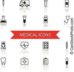 Simple Medical Icons and Symbols Set Isolated with reflection vector