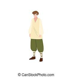 Simple medieval fairy tale plowman in green pants