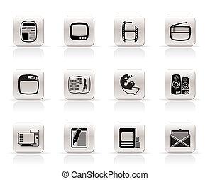 simple, medios, iconos