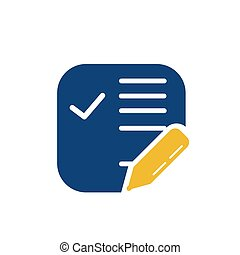 simple memo and pen button application icon and logo