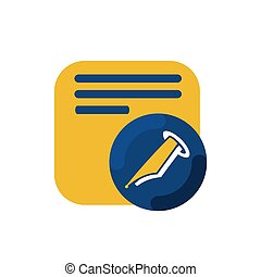 simple memo and pen button icon and logo vector