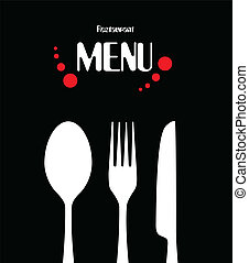 simple, menú, diseño, restaurante