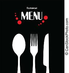 simple, menu, conception, restaurant