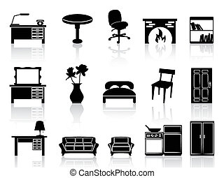 simple, meubles, noir, icône