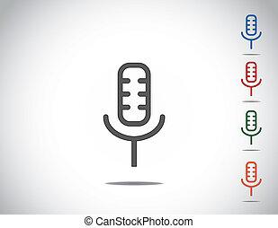 simple, microphone, mic, coloré, icône