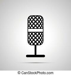simple, microphone, noir, silhouette, icône