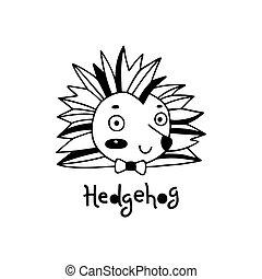 simple, mignon, hérisson, vecteur, figure, illustration, style., dessin animé