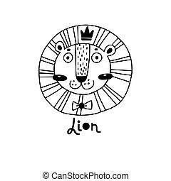 simple, mignon, vecteur, figure, illustration, lion, style., dessin animé