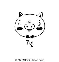 simple, mignon, vecteur, figure, illustration, style., dessin animé, cochon