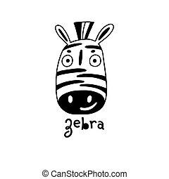 simple, mignon, vecteur, figure, illustration, style., dessin animé, zebra