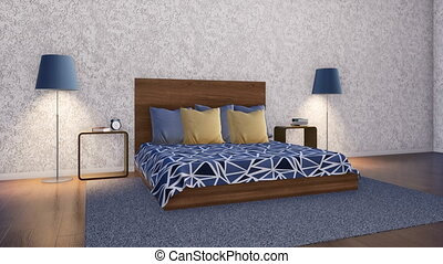 Simple minimalist bedroom interior design 3D