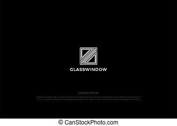 Simple Minimalist Square Glass Window Logo Design Vector