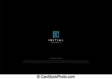 Simple Minimalist Square Initial Letter K Logo Design Vector
