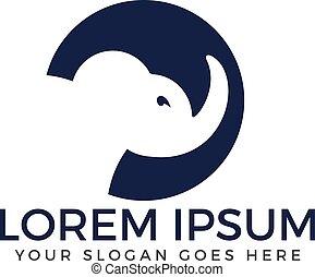 Simple modern elephant logo.