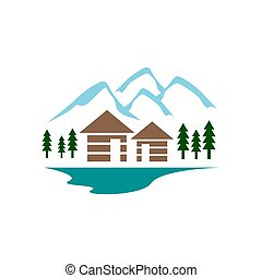 simple modern log woods cabin logo with mountain and trees design vector illustration