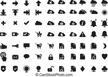 Simple, modern web icons - weather and online shopping