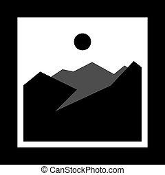 simple monochrome icon with mountains