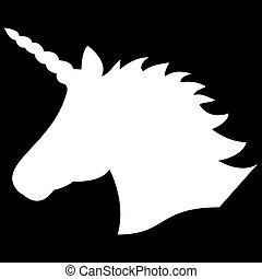 Simple Monochrome shape, silhouette  of the magical unicorn in white on the black background